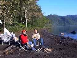 キャンプ 支笏 湖